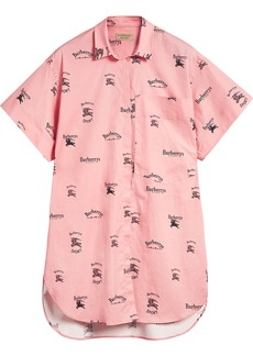 Burberry Short-sleeve Archive Logo Print Stretch-cotton Shirt - Pink &