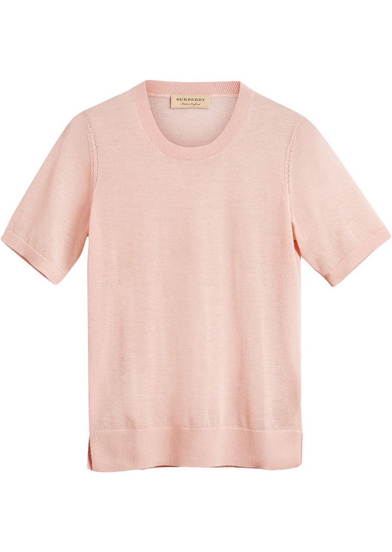 Burberry cashmere short sleeve sweater - Pink & Purple