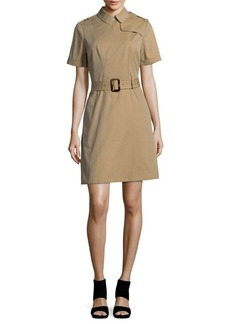 Burberry Short Sleeve Cotton Sheath Dress