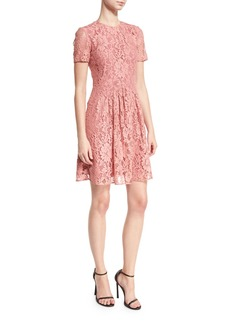 Burberry Short-Sleeve Lace Fit-and-Flare Dress