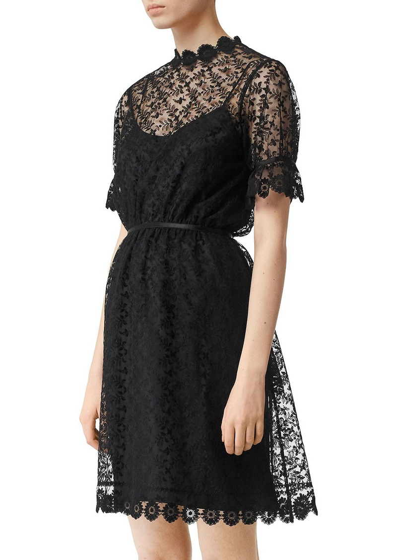 Burberry Short-Sleeve Lace Illusion Dress