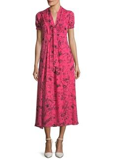 Burberry Short-Sleeve Tie-Neck Midi Dress