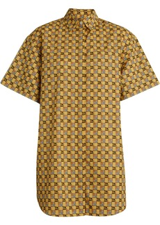 Burberry Short-sleeve Tiled Archive Print Cotton Shirt - Yellow &