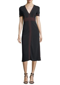 Burberry Short-Sleeve V-Neck Midi Dress