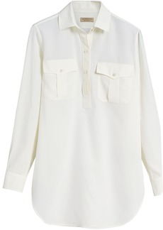 Burberry Silk Tunic Shirt - White