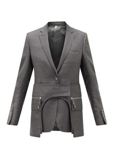 Burberry Single-breasted cutout wool-blend jacket