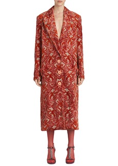 Burberry Single-Breasted Damask Velvet Jacquard Coat