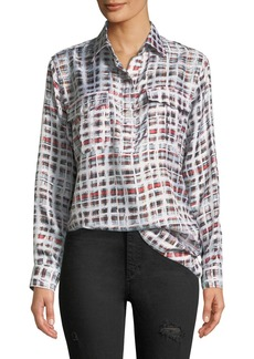 Burberry Sirena Two-Pocket Window-Check Silk Shirt