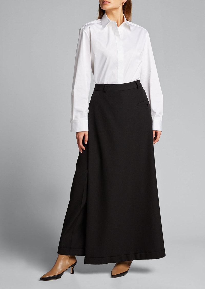 Burberry Skirt-Front Wide-Leg Trousers