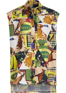 Burberry Sleeveless Archive Scarf Print Stretch Cotton Shirt
