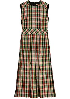 Burberry sleeveless pleat detail check georgette dress - Green
