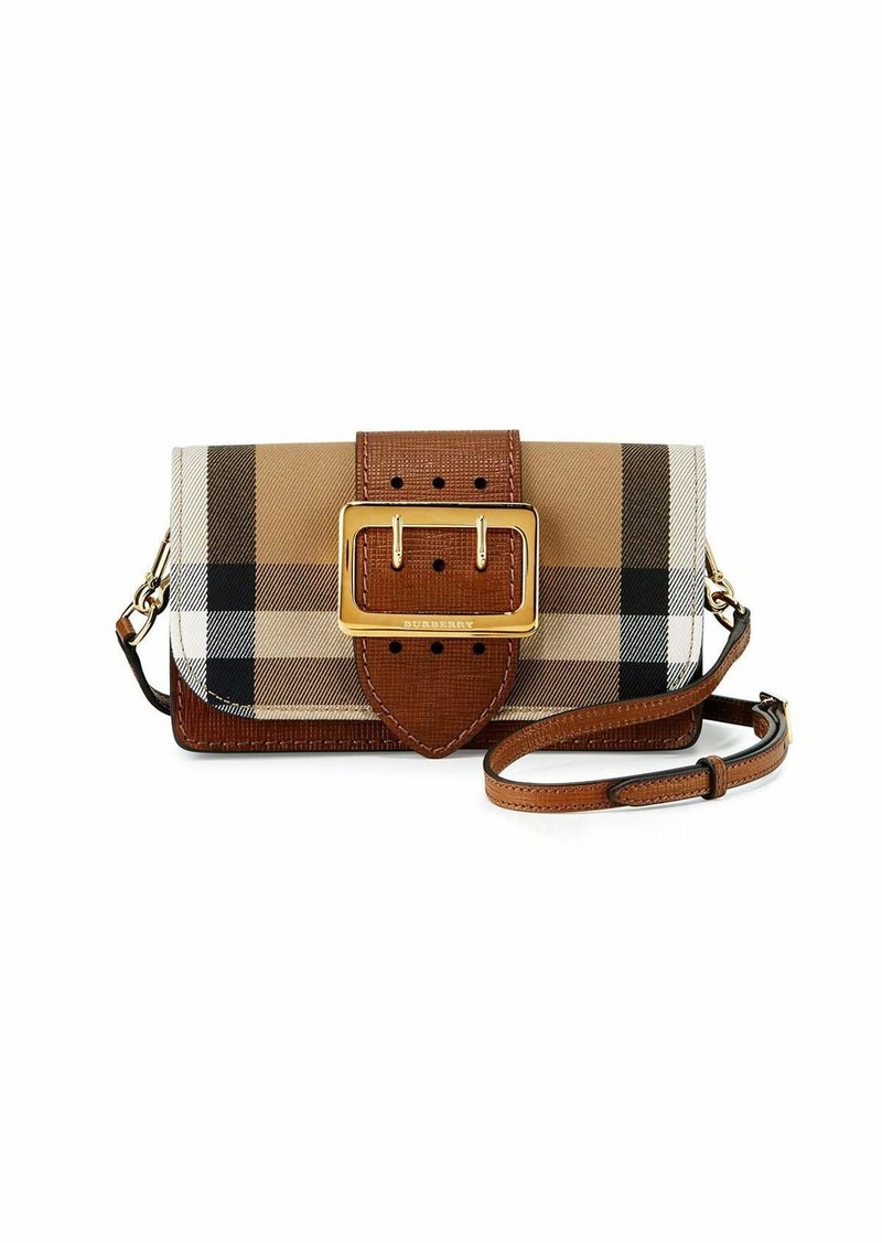 Burberry Small Buckle House Check Leather Shoulder Bag