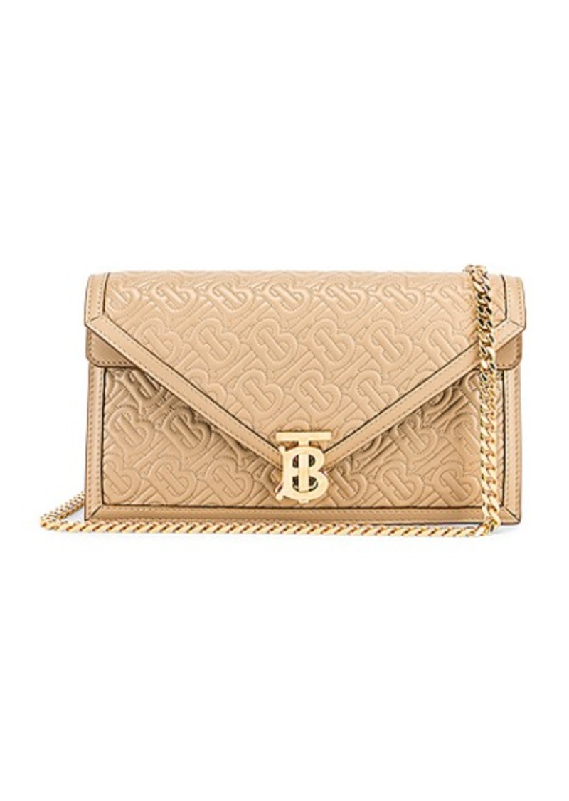 Burberry Small Monogram Quilted Envelope Chain Bag