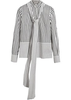 Burberry Spot and Stripe Print Cotton Tie-neck Shirt - White