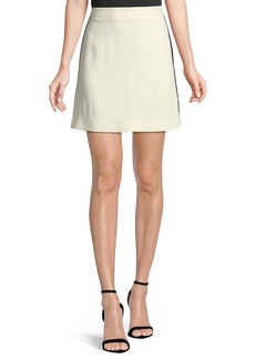 Burberry Stanforth Crepe Short Skirt with Satin Stripe