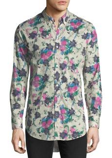 Burberry Strenton Floral-Print Cotton Sport Shirt