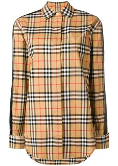 Burberry stripe detail vintage check cotton shirt - Nude & Neutrals