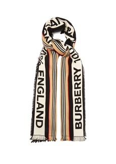Burberry Striped logo cotton scarf