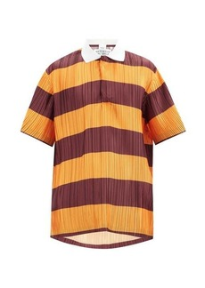 Burberry Striped plissé-pleated polo shirt