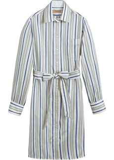 Burberry Striped Silk Shirt Dress - White