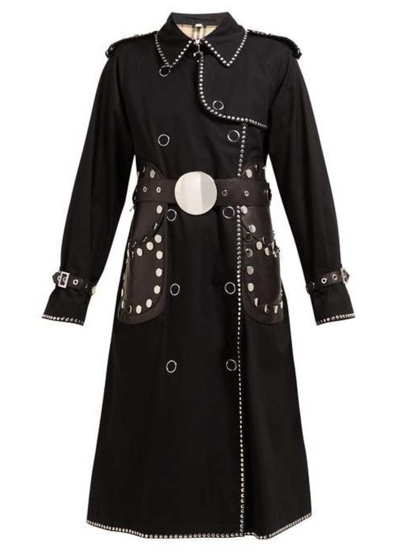 Burberry Stud-embellished cotton-gabardine trench coat