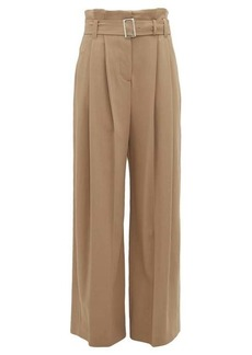 Burberry Swanage paperbag-waist crepe wide-leg trousers