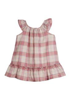 Burberry Taia Flutter-Sleeve Check Dress