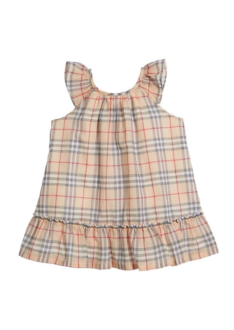 Burberry Taia Flutter-Sleeve Check Dress  Size 1-24 Months