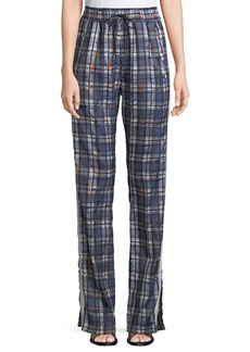 Burberry Tanley Check Satin Jogger Pants with Side Stripes