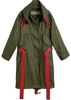 Burberry Tape Detail Showerproof Hooded Parka - Green