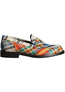 Burberry Tartan Cotton Penny Loafers - Yellow & Orange