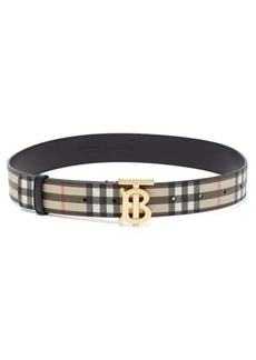 Burberry TB-buckle check-leather belt