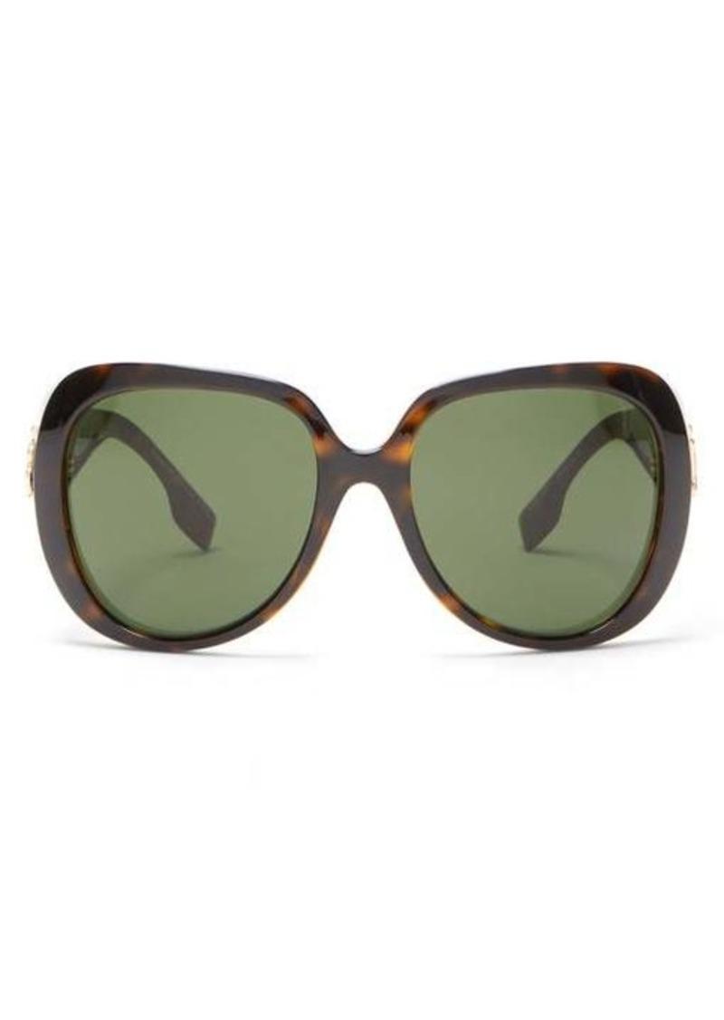 Burberry TB-logo oversized tortoiseshell-acetate sunglasses