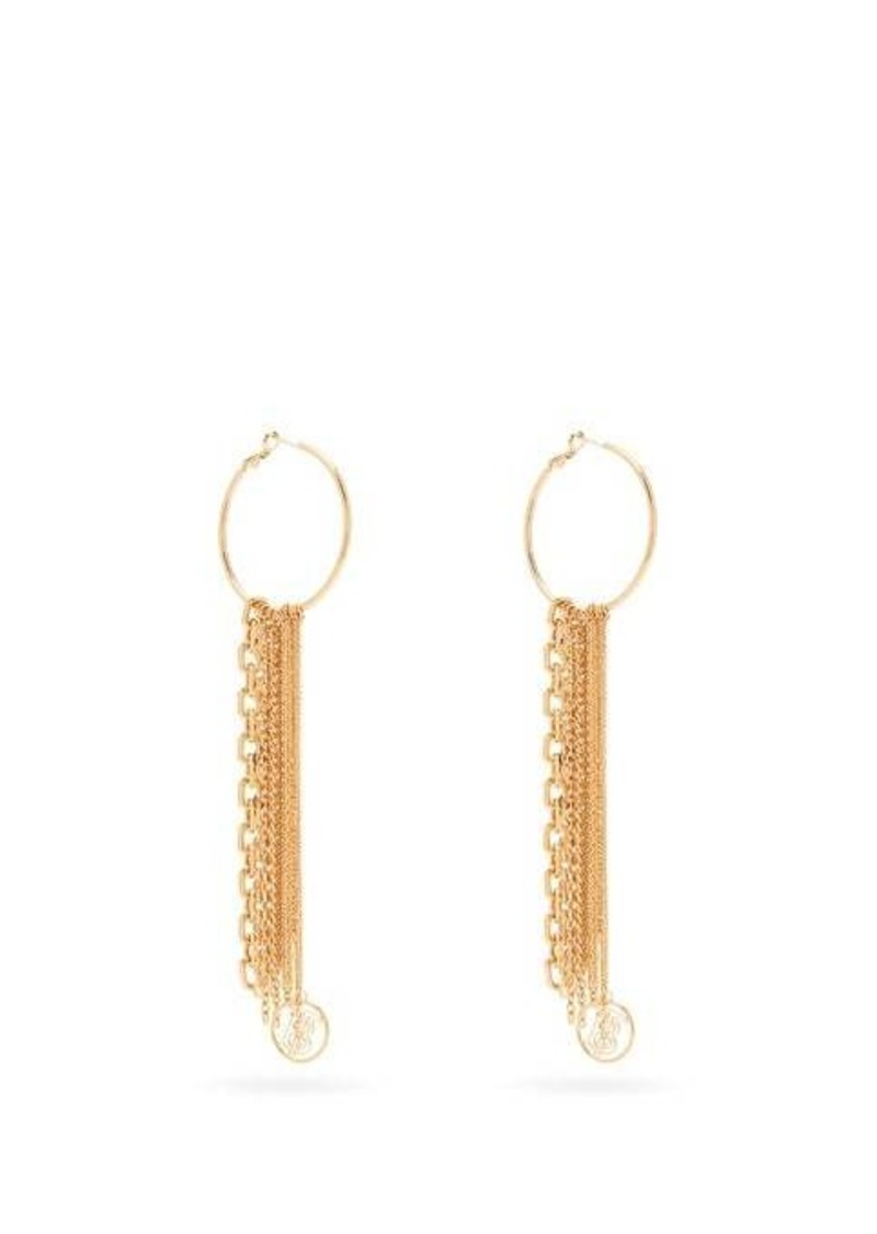 Burberry TB monogram and chain drop earrings