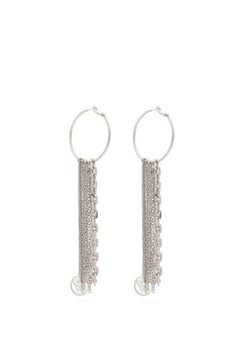 Burberry TB monogram and chain-tasselled hoop earrings