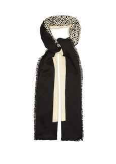 Burberry TB monogram cashmere-faille scarf