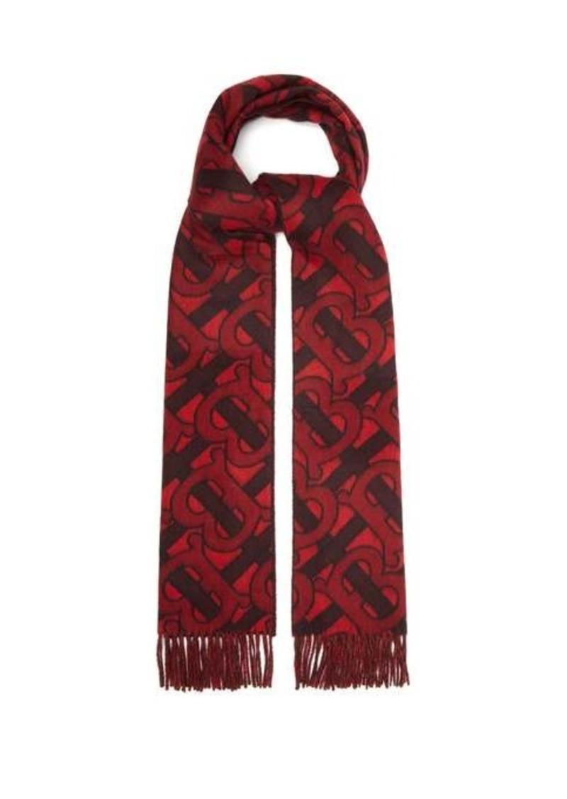 Burberry TB Monogram-jacquard cashmere scarf