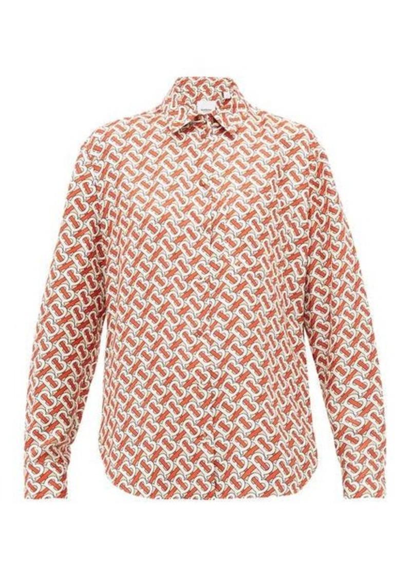 Burberry TB-print silk-satin shirt