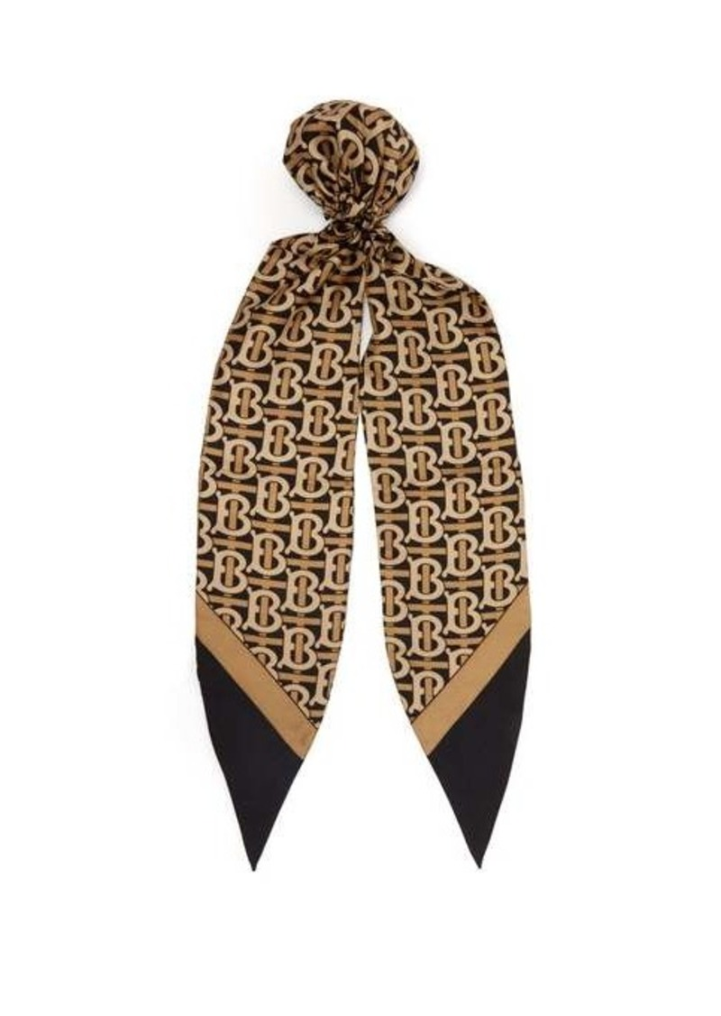 Burberry TB-print silk-twill hair scarf