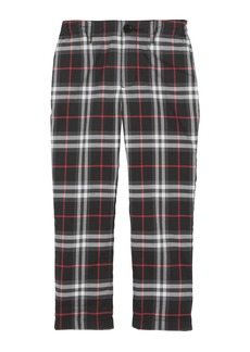 Burberry Teo Relaxed Check Twill Pants  Size 3-14