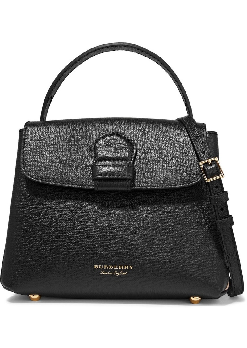 Burberry Burberry Textured-leather and checked canvas shoulder bag ... 3cad7de60d246