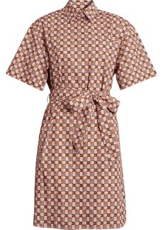 Burberry Tiled Archive Print Cotton Shirt Dress - Pink & Purple