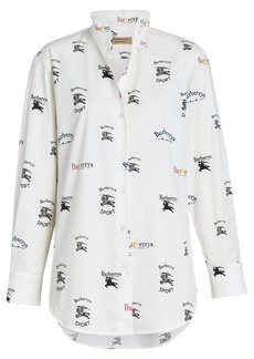 Burberry Triple Archive Logo Print Stretch Cotton Shirt - White
