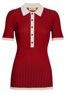 Burberry Two-tone Cashmere Silk Polo Shirt - Red