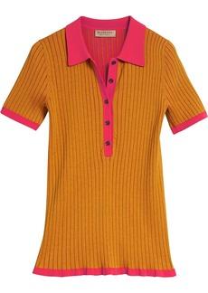 Burberry Two-tone Cashmere Silk Polo Shirt