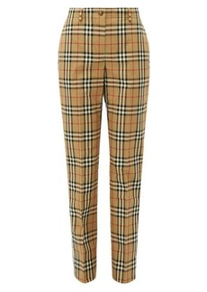Burberry Two-tone checked cotton straight-leg trousers