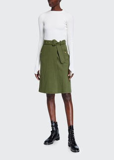 Burberry Two-Tone Silk-Top Dress with Wool Knit Skirt