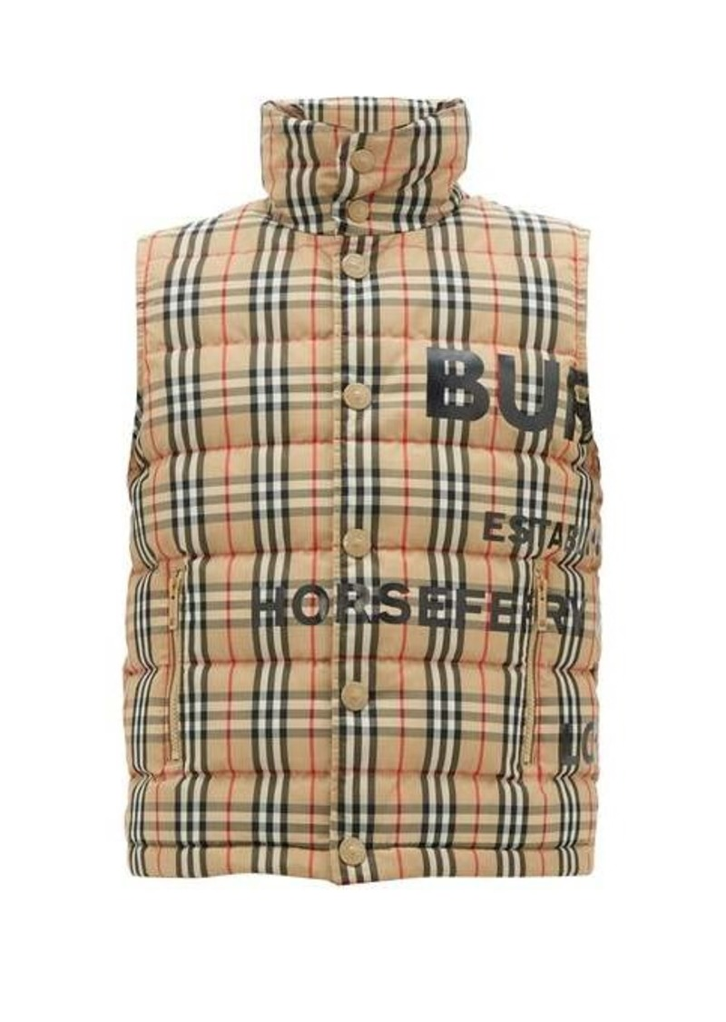 Burberry Typeface-logo checked quilted-down gilet