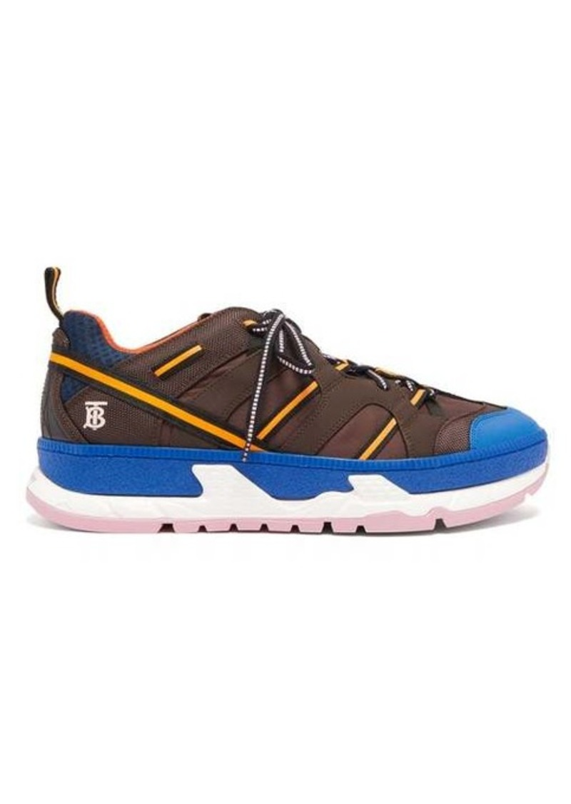 Burberry Union panelled PU trainers
