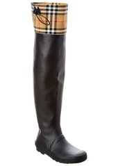Burberry Vintage Check & Rubber Knee-High Rain Boot